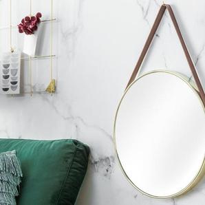 Design Wandspiegel PORTRAIT 45cm gold mit Kunstleder-Riemen
