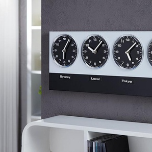 Design Wanduhr WORLD TIME incl. 8 Magnete 4 Zeitzonen Weltuhr