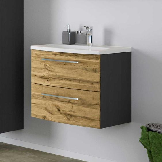 Design Waschtisch in Wildeiche Optik und Dunkelgrau 60 cm breit