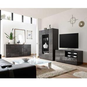 Design Wohnwand in Anthrazit Hochglanz Siebdruck verziert (3-teilig)