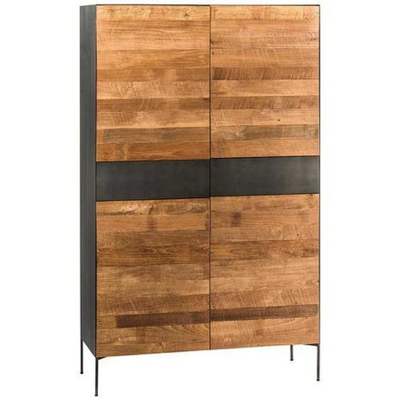 Design Wohnzimmerschrank aus Teak Recyclingholz Schwarz Metall