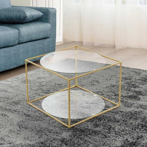 Design Wohnzimmertisch aus Metall in Goldfarben runden Glasplatten
