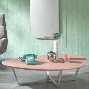 Design Wohnzimmertisch in Altrosa und Silberfarben nierenförmig