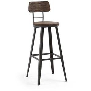 Designbarhocker im Industry Style Bambus und Stahl (2er Set)