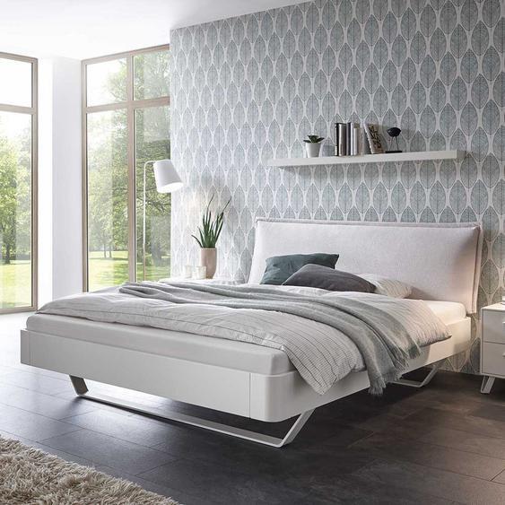 Designbett in Weiß gepolstertem Kopfteil in Beige