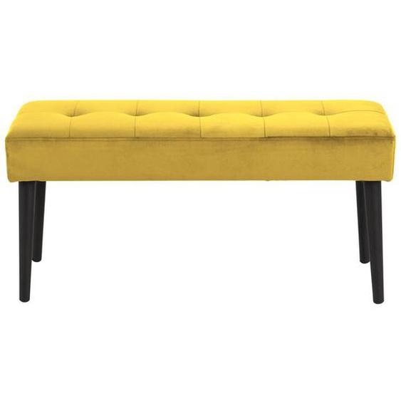 Designer-Bank aus gelbem Samt gepolstert GUESTA