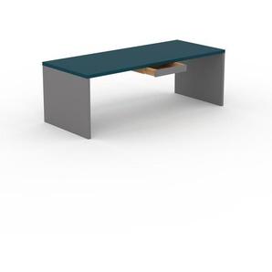 Designer Esstisch Massivholz Blau - Individueller Designer-Massivholztisch: mit 1 Schublade/n - Hochwertige Materialien - 220 x 75 x 90 cm