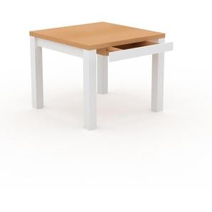 Designer Esstisch Massivholz Buche - Massivholztisch: mit 1 Schublade/n & Tischrahmen - Hochwertige Materialien - 90 x 76 x 90 cm, Modular