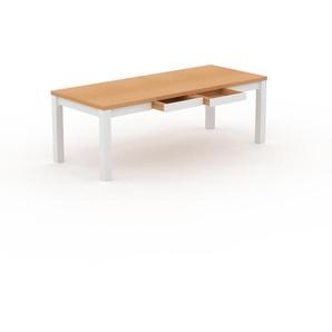 Designer Esstisch Massivholz Buche - Massivholztisch: mit 2 Schublade/n & Tischrahmen - Hochwertige Materialien - 220 x 76 x 90 cm, Modular