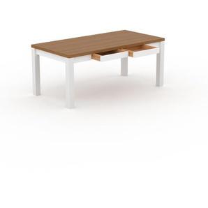 Designer Esstisch Massivholz Eiche - Massivholztisch: mit 2 Schublade/n & Tischrahmen - Hochwertige Materialien - 180 x 76 x 90 cm, Modular