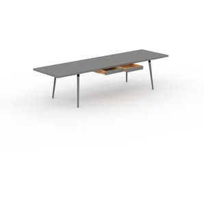 Designer Esstisch Massivholz Grau - Individueller Designer-Massivholztisch: mit 2 Schublade/n - Hochwertige Materialien - 320 x 75 x 90 cm