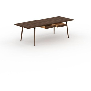Designer Esstisch Massivholz Nussbaum - Individueller Designer-Massivholztisch: mit 2 Schublade/n - Hochwertige Materialien - 240 x 75 x 90 cm