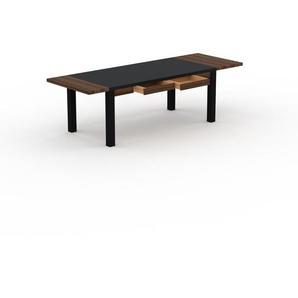 Designer Esstisch Massivholz Schwarz - Massivholztisch: mit 2 Schublade/n & Tischrahmen - Hochwertige Materialien - 260 x 76 x 90 cm, Modular