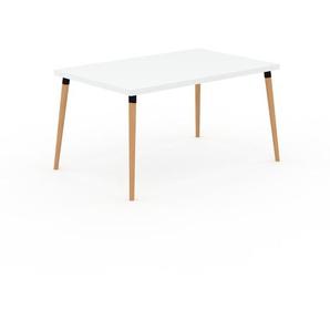 Designer Esstisch Massivholz Weiß - Individueller Designer-Massivholztisch: Einzigartiges Design - 140 x 75 x 90 cm, Modular