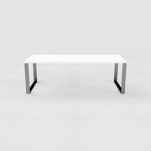 Designer Esstisch Massivholz Weiß - Individueller Designer-Massivholztisch: Einzigartiges Design - 220 x 75 x 90 cm, Modular