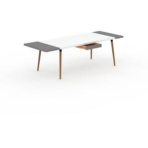 Designer Esstisch Massivholz Weiß - Individueller Designer-Massivholztisch: mit 1 Schublade/n - Hochwertige Materialien - 250 x 75 x 90 cm