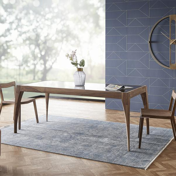 Designer-Esstisch Wyatt 200x90 Sheesham Natur Glas Schwarz, Esstische
