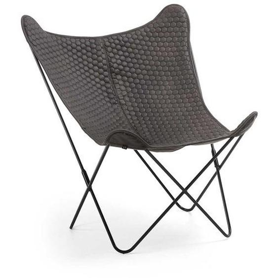Designer Sessel in dunkel Grau Microfaser Retrostil