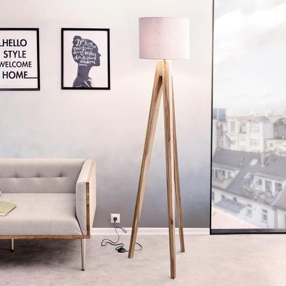 Designer-Stehlampe Wyatt Sheesham Natur drei Beine Stoff Grau, Stehleuchten