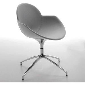 Designer Stuhl in Grau mit Armlehnen