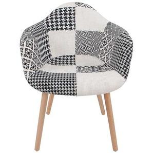 Designer Stuhl mit Patchworkmuster Schwarz Wei� Webstoff (2er Set)