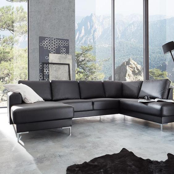Designer-Wohnlandschaft Silas 300x200 Schwarz Ottomane Rechts, Wohnlandschaften, Designer Sofa