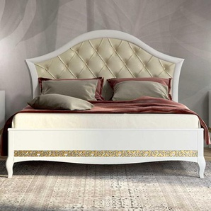 Designerbett in Weiß Blattgold verziert