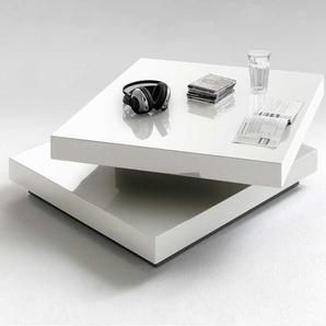 Designercouchtisch mit drehbarer Tischplatte Weiß Hochglanz