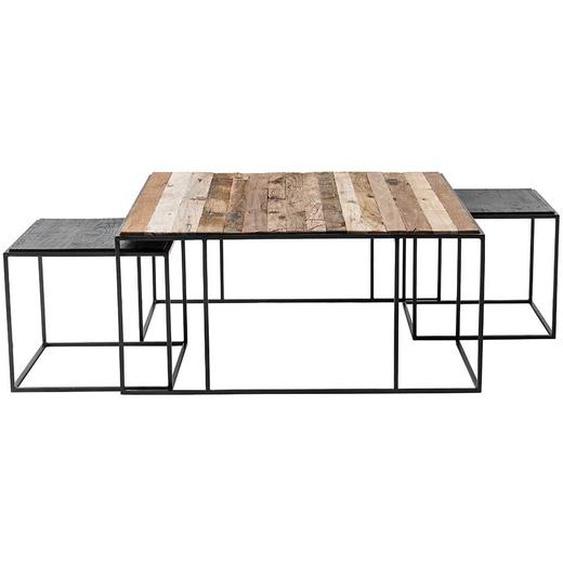 Designercouchtisch Set aus Recyclingholz und Eisen Loft Style (3-teilig)