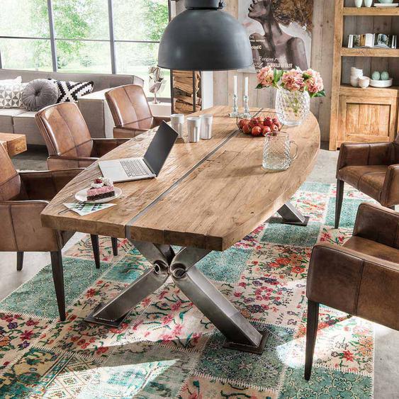 Designertisch aus Teak Recyclingholz Stahl