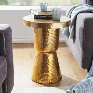 Designertisch in Goldfarben Säulengestell