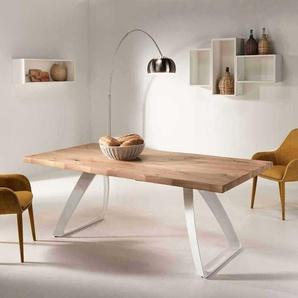 Designertisch mit Baumkante aus Eiche Wei� Metall