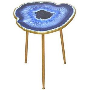 Designertisch mit organischer Platte Blau Gold