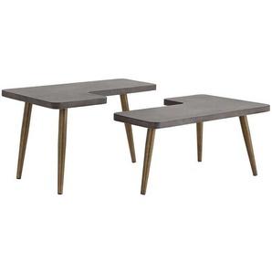 Designertisch Set aus Leichtbeton und Metall Beton Grau und Messingfarben (zweiteilig)