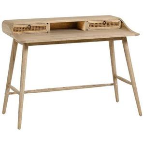 Designschreibtisch aus Massivholz und Rattan Geflecht 110 cm breit