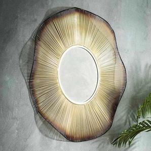 Designspiegel in Goldfarben rundem Metallrahmen