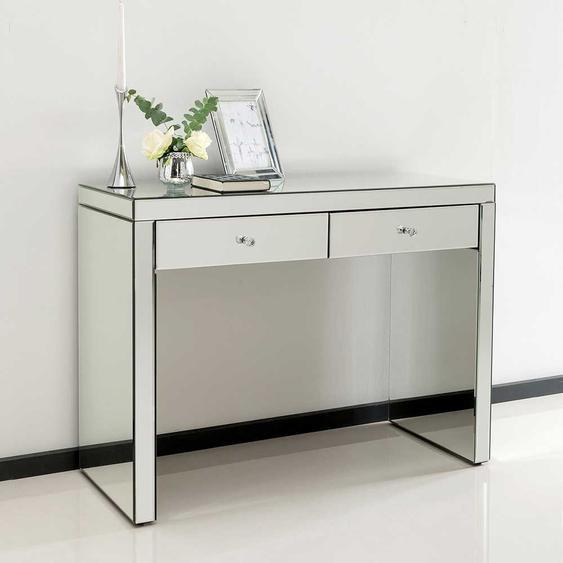 Designtisch mit Spiegelglas beschichtet zwei Schubladen