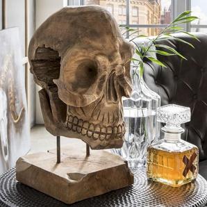 die Faktorei Deko-Totenkopf auf Ständer recyceltes Teakholz