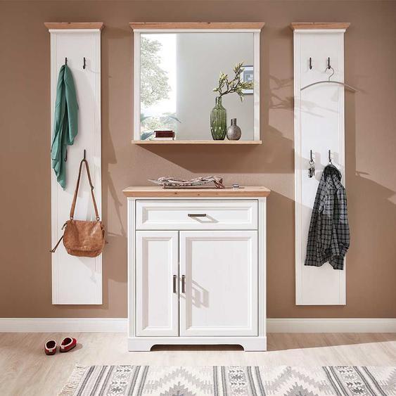 Dielenmöbelset im Landhaus Design Weiß und Eichefarben (4-teilig)