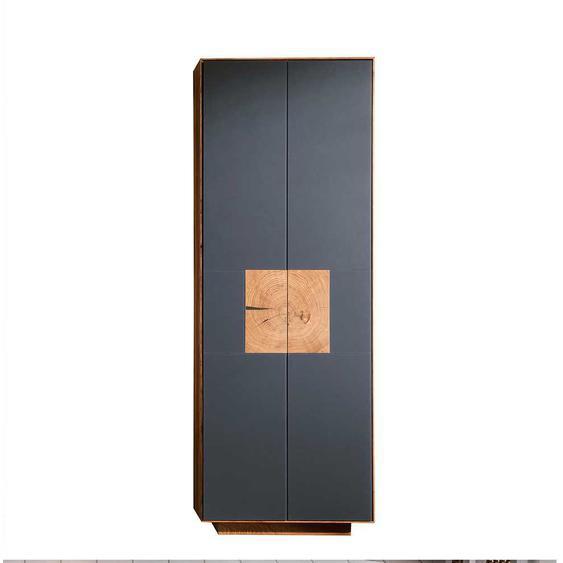 Dielenschrank in Anthrazit mit Wildeiche Massivholz modern