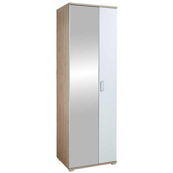 Dielenschrank in Weiß und Eichefarben Spiegel Tür