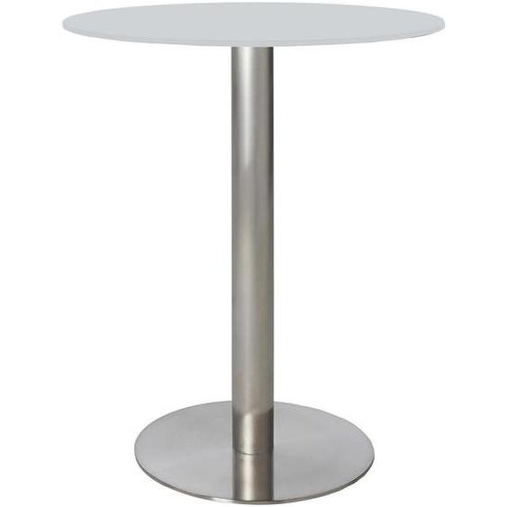 Dieter Knoll Bartisch rund Weiß, Silber , Metall, Glas , 115x105x115 cm