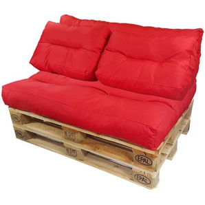 Diluma Palettenkissen Lounge Set 4 teilig in Rot