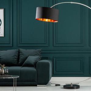 Dimmbare Bogenlampe PYTHON 180cm schwarz gold Retro Bogenleuchte