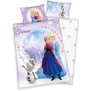 Disney Kinderbettwäsche »Frozen Sisters«, 40x60 cm, pflegeleicht, aus reiner Baumwolle, lila