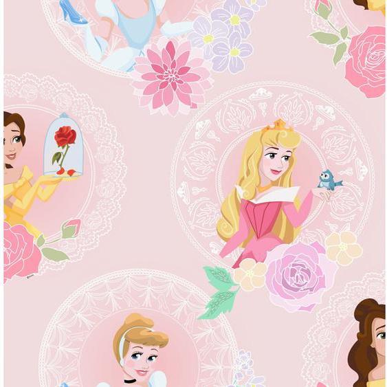 Disney  Papiertapete Prinzessinen in Pastell Rosa