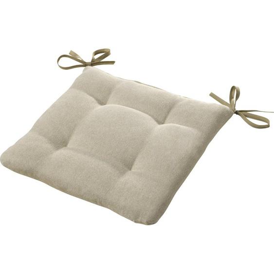 Dohle&Menk Sitzkissen Ontario, mit Bändern zum befestigen 1x 42x42 cm, Polyester, 6 cm beige Stuhlkissen Kissen Kopfkissen