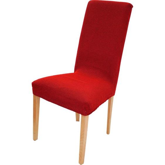 Dohle&Menk Stuhlhusse Creta, hochwertige Stretchware – kurz rot Stuhlhussen Hussen Überwürfe