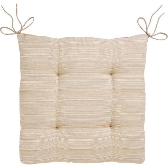 Dohle&Menk Stuhlkissen Ribeira Rita, mit feinen Streifen 1x 40x40 cm, Baumwolle-Polyester, 7 cm beige Sitzkissen Kissen Kopfkissen