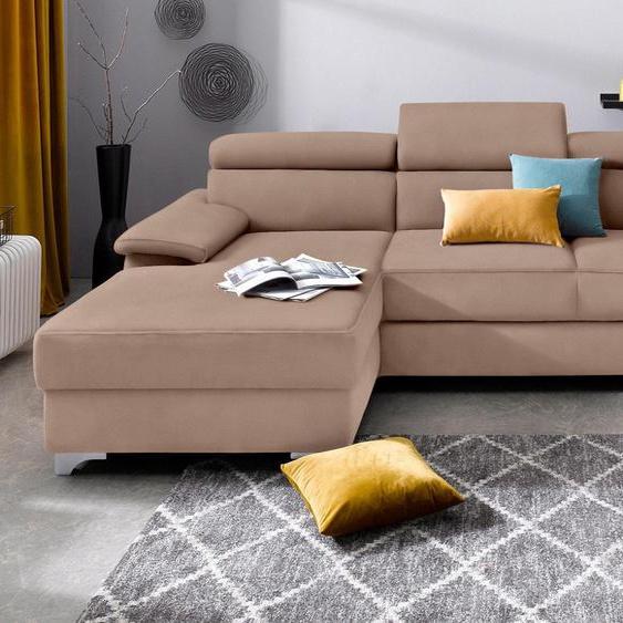 DOMO collection Ecksofa, mit Bettfunktion, Récamiere rechts oder links, FSC®-zertifiziert, beige, Material Holzwerkstoff, mit Schlaffunktion, mit Rückenverstellung mit Bettkasten